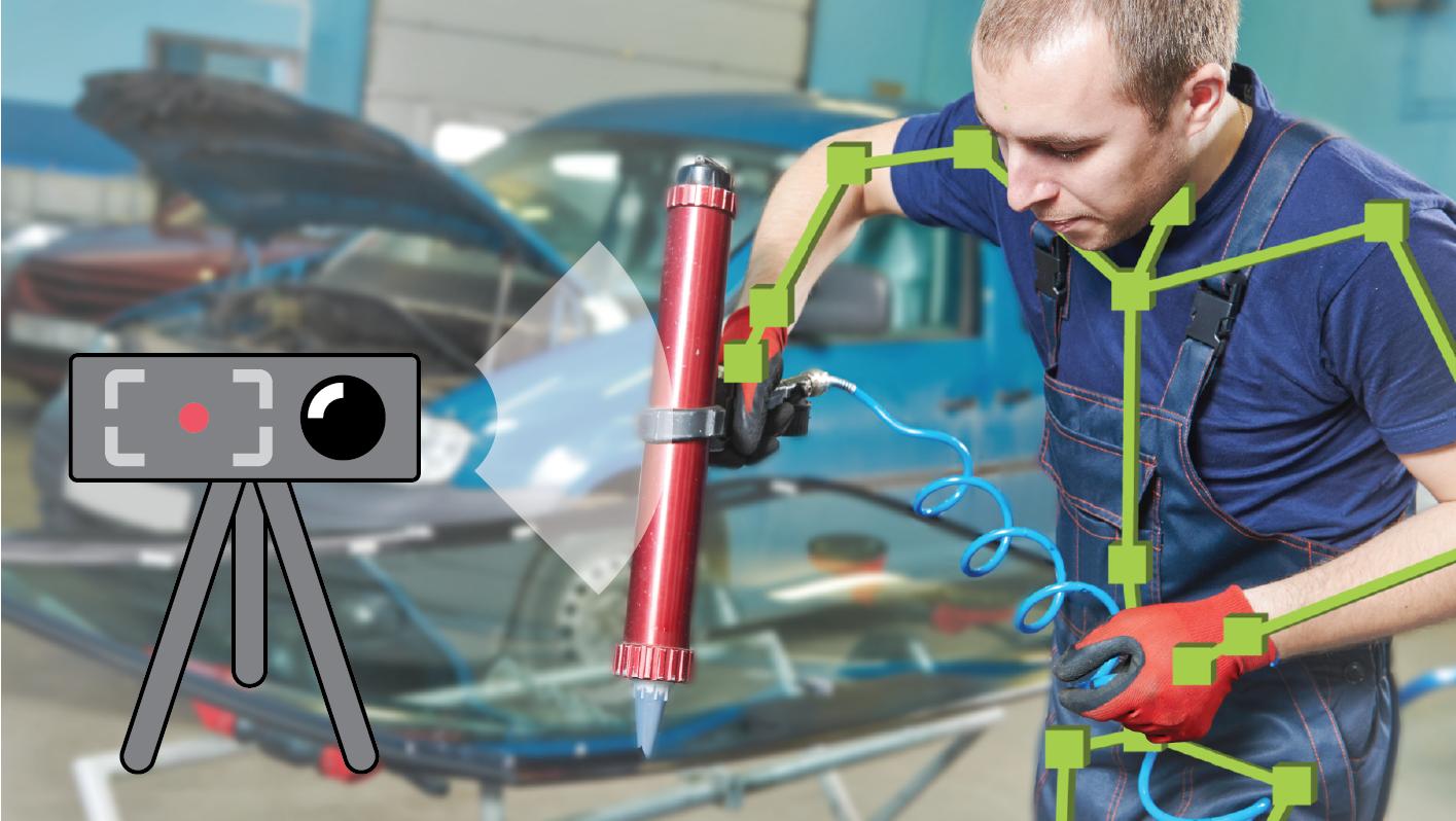 Movement digitalization system mcframe MOTION measuring worker motion using 3D depth sensor camera